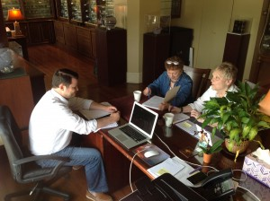 Rae and Evelyn doing curriculum development with L.H. Selman owner Mitch Clark