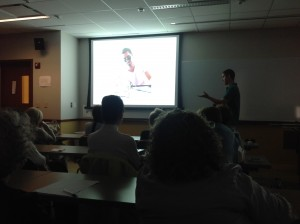 Damon showing his powerpoint