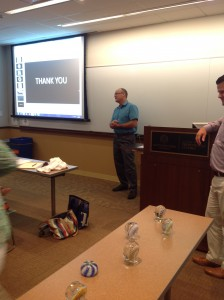 David finishing his talk on paperweights with Mitch listening at the podium