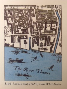 Map of London clearly identifying the Whitefriars by the River Thames