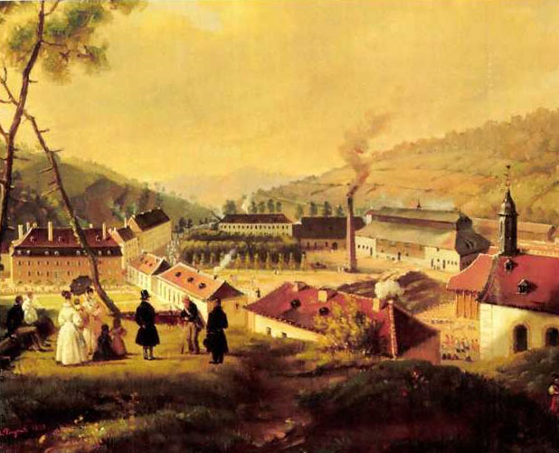 19th century view of Saint Loius factory from a painting