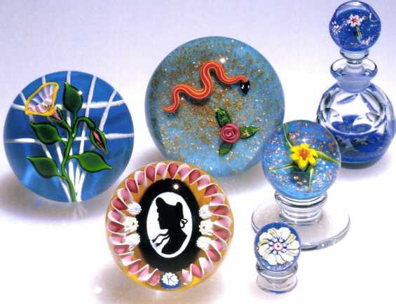 5.91 Paperweights and a perfume bottle by Charles Kaziinn