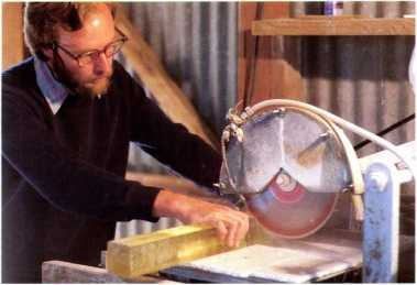 5.123 James Shaw cutting glass from block