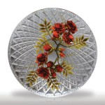 """Lot 90 David Graeber 2012 """"Magaro"""" red roses in a round basket-cut paperweight. This paperweight was designed in honor of the former L.H. Selman gallery manager, Alexis Magaro."""
