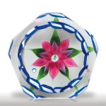 Lot 137 Bob Banford pink double clematis and garland faceted miniature paperweight