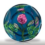 Lot 157 Ken Rosenfeld 1993 pink rose on aqua ground faceted paperweight