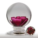 Lot 163 Federici Designs 2003 red crimp rose pedestal paperweight, by Richard Federici