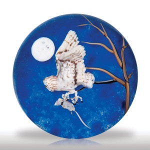 """Lot 170 Jim D'Onofrio 2005 """"Barn Owl and Full Moon"""" compound paperweight"""