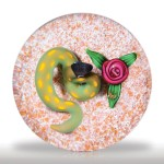 Lot 191 Charles Kaziun Junior yellow spotted green snake and rope rose paperweight