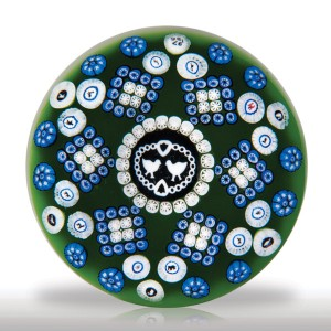 Lot 208 Baccarat 1976 Gridel lovebirds and patterned millefiori paperweight