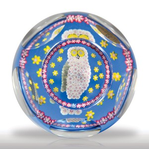 Lot 221 Whitefriars 1980 owl faceted paperweight