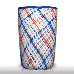 Lot 235 Mike Hunter 2014 crossing lattice weave lattimo ribbons with red and blue ribbons tumbler