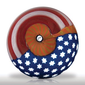 Lot 240 Mike Hunter 2009 American flag surface design paperweight