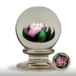 Lot 249 Francis Whittemore pink crimp rose in a pedestal paperweight