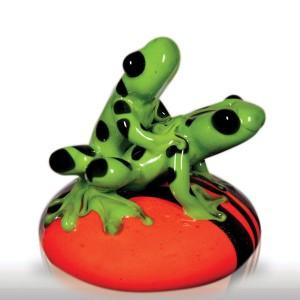 "Lot 261 Smallhouse Art Glass 2002 ""Rite of Spring - Green Leopard Frogs"" paperwei"