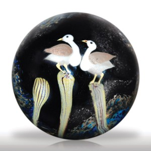 Lot 272 Orient & Flume 1982 fantasy flowers with perching doves surface design paperweight, by Ed Seaira