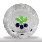 Perthshire Paperweights (1977) Damson plums faceted miniature paperweight