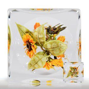Paul Stankard Sunflower Cube