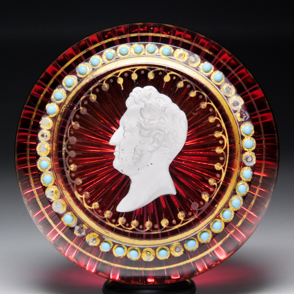 Rare Baccarat Louis Philippe sulphide gilded paperweight.