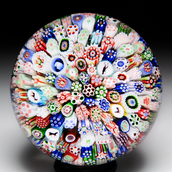 Rare and unusual Baccarat 1849 millefiori paperweight.
