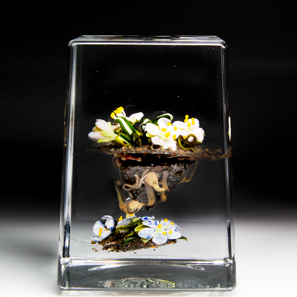 Paul Stankard botanical paperweight.
