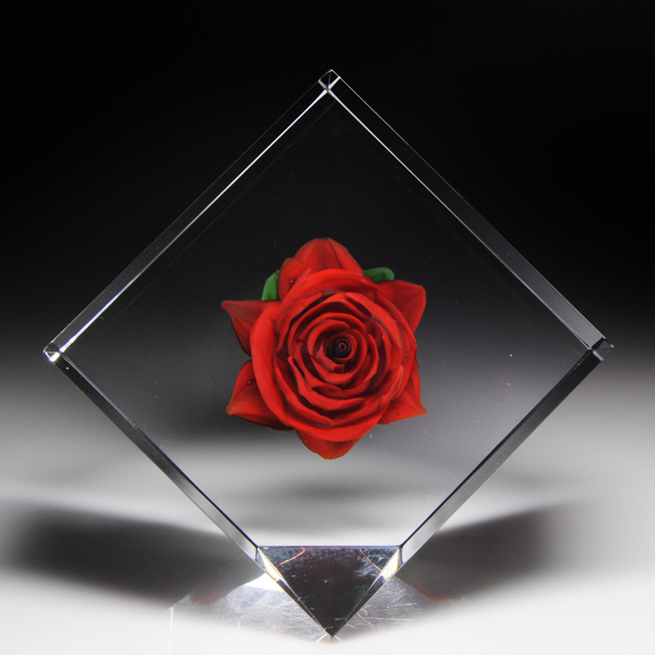 Rick Ayotte 1996 American Beauty rose paperweight.