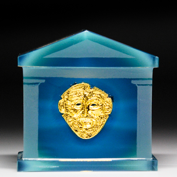 Saint Louis 1981 gold mask Greek temple paperweight.