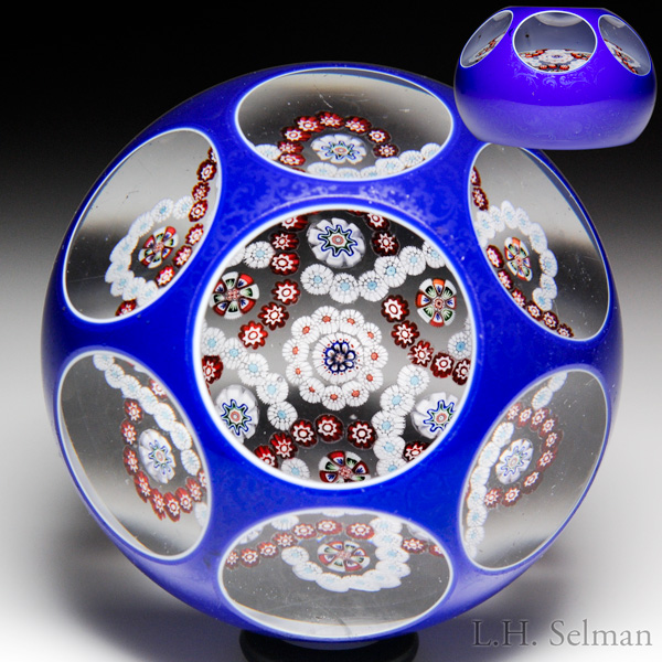 Antique Baccarat interlaced millefiori trefoil garlands in blue double overlay faceted paperweight.