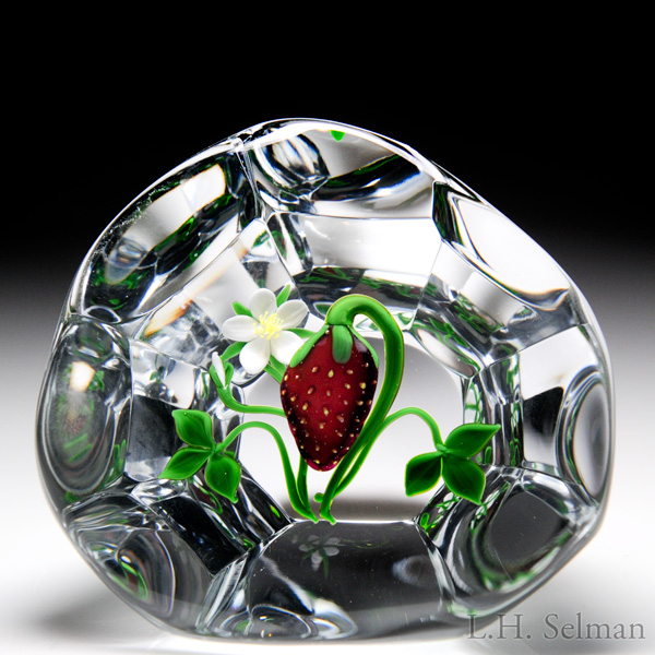 Victor Trabucco 1983 strawberry and blossom upright faceted paperweight.