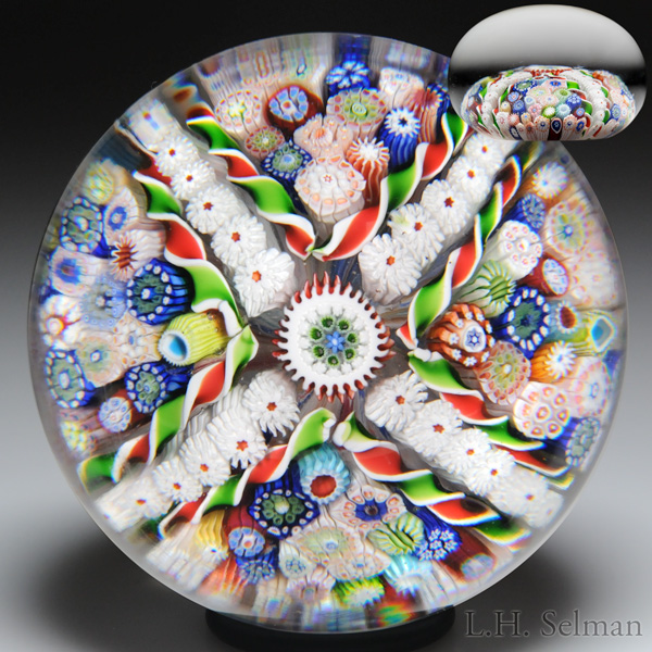 Very Rare Antique Saint Louis Four-Paneled Close Packed Millefiori Cross Paperweight