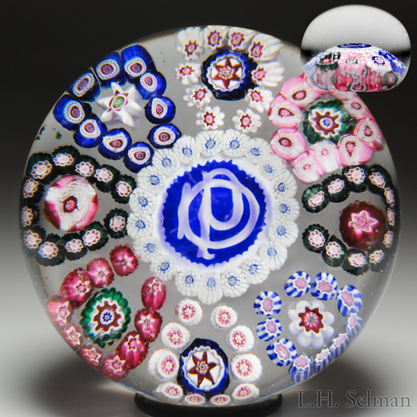 Rare And Notable Antique Pantin Monogram And Patterned Millefiori Paperweight.