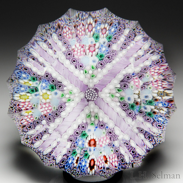 Jim Brown 2017 Lavender Cross-Patterned Millefiori Fluted Faceted Paperweight