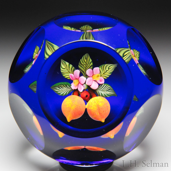 Johne Parsley 1992 Peaches And Blossoms Miniature Faceted Paperweight