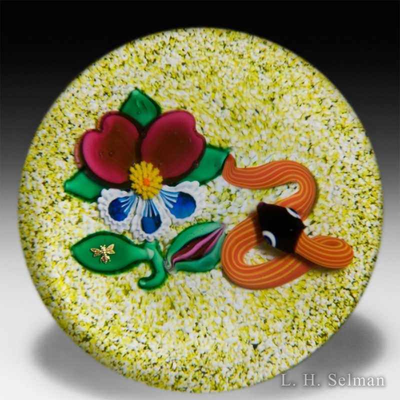 Charles Kaziun Junior rare snake and pansy on a pale yellow jasper ground glass paperweight. by Charles Kaziun Junior