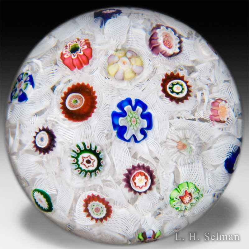 Antique Baccarat scattered millefiori on upset muslin by  Baccarat Antique