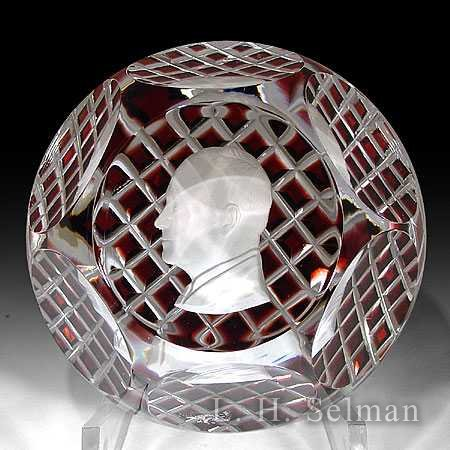 Baccarat Dwight D. Eisenhower sulphide on red ground/facets by Baccarat Moderns