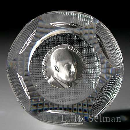 Baccarat Dwight Eisenhower experimental sulphide/facets by Baccarat Moderns