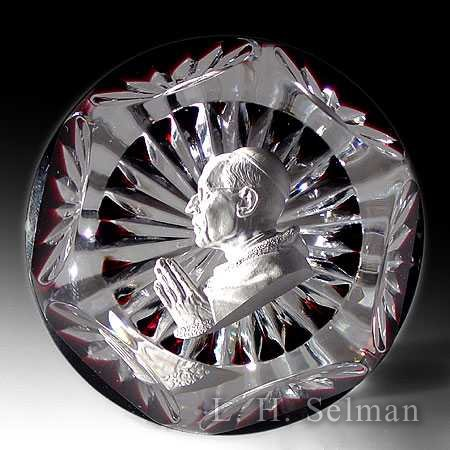 Baccarat Pope Pius XII sul- phide on garnet ground/facets by Baccarat Moderns