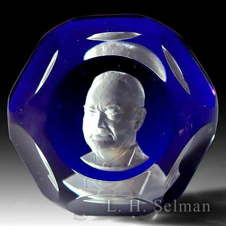 Baccarat Herbert Hoover sul- phide on cobalt blue/facets by Baccarat Moderns