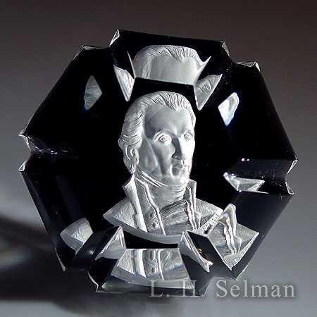 Baccarat James Monroe sulphide on caramel ground/facets by Baccarat Moderns