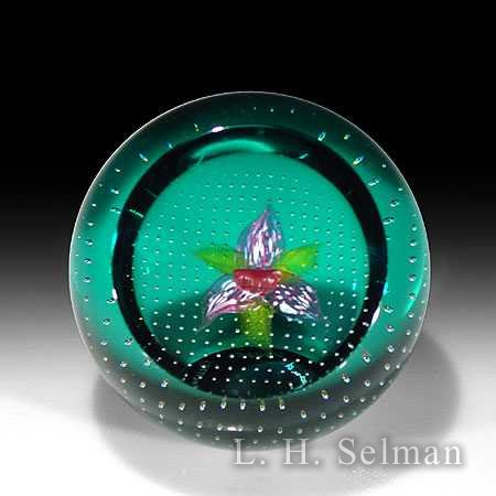 Caithness mauve, pink & white orchid on turquoise ground by Caithness  Glass Inc
