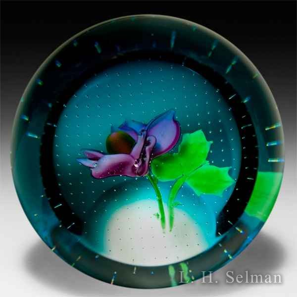 Caithness 'June - Rose' on blue-flash ground/front facet by Caithness  Glass Inc