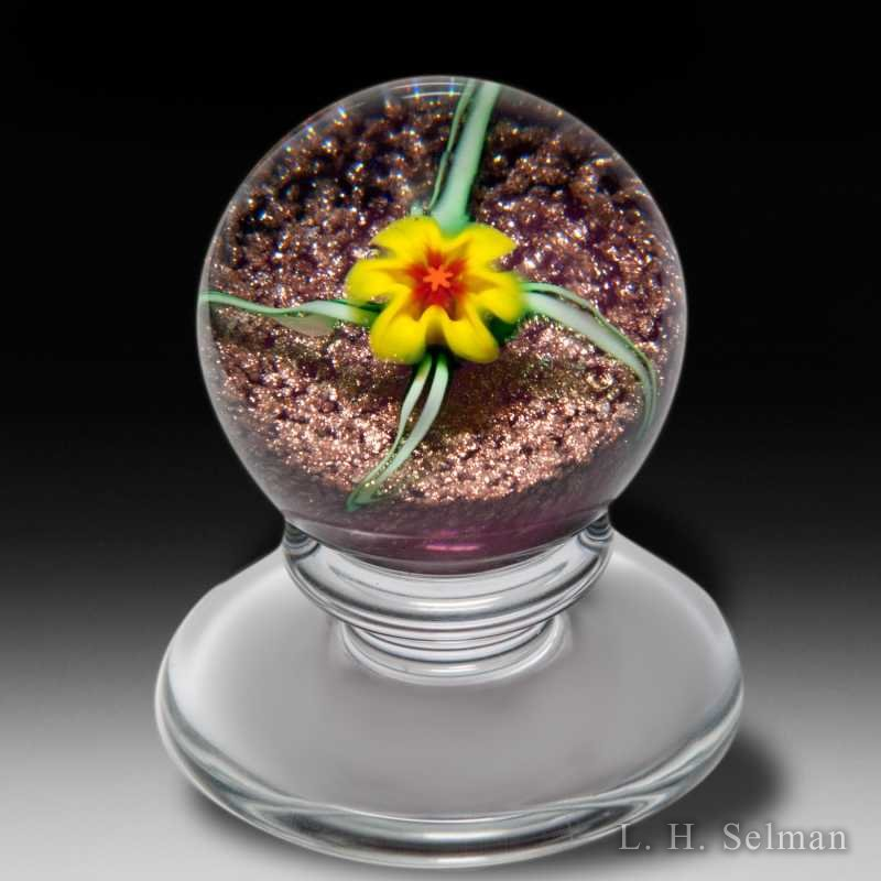 Charles Kaziun Junior miniature yellow lily pedestal glass paperweight. by Charles Kaziun Junior