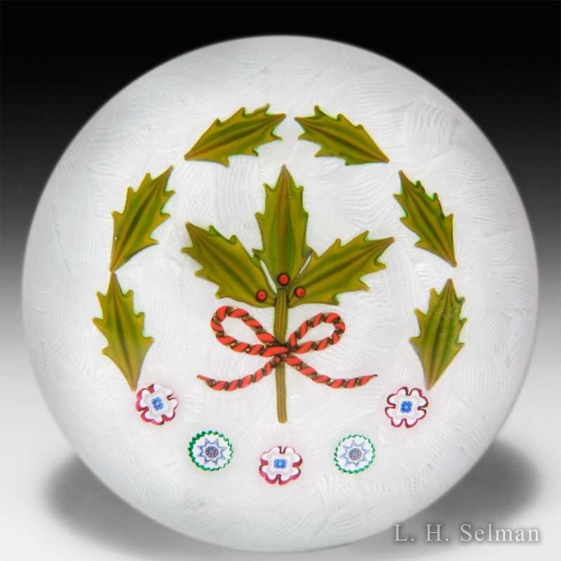 P. McD Glass 2007 Christmas holly & canes on upset muslin by Peter McDougall
