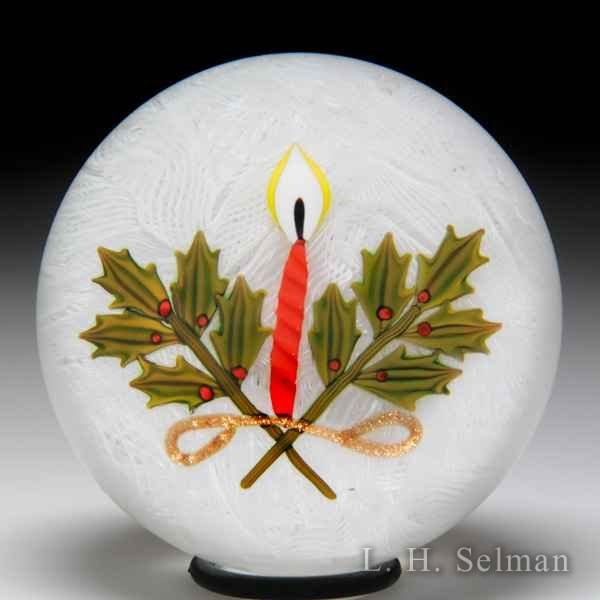 P. McD Glass 2007 Christmas candle & holly/LHS exclusive by Peter McDougall