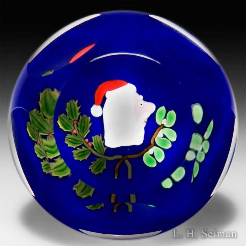 Perthshire Paperweights 2000 faceted Santa Claus glass paperweight. by  Perthshire Paperweights