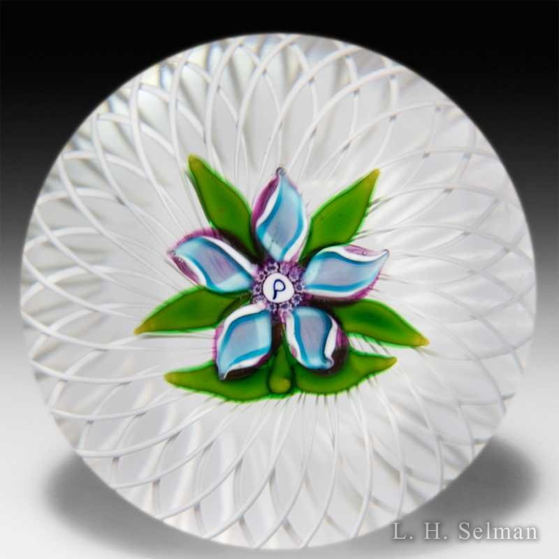 Perthshire blue-on-amethyst clematis on latticinio basket by  Perthshire Paperweights