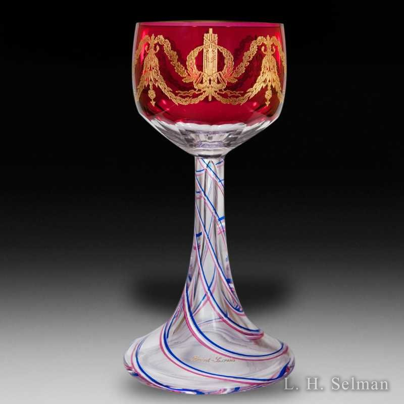 St Louis 1989 gilded tricolor commemorative goblet; LE/300 by  Saint Louis
