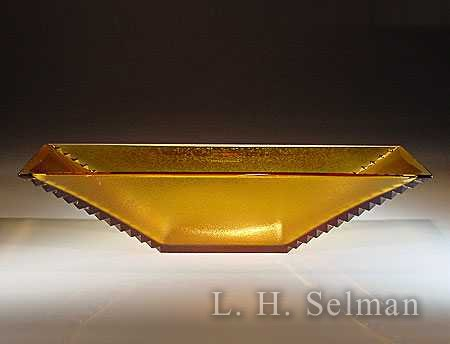 Vladimir Klein 'Ridges Amber Bowl' with notched edges by Vladimir Klein