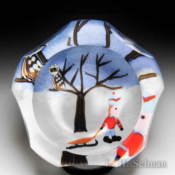 Perthshire Paperweights 1998 boy and sled Christmas glass paperweight. by  Perthshire Paperweights